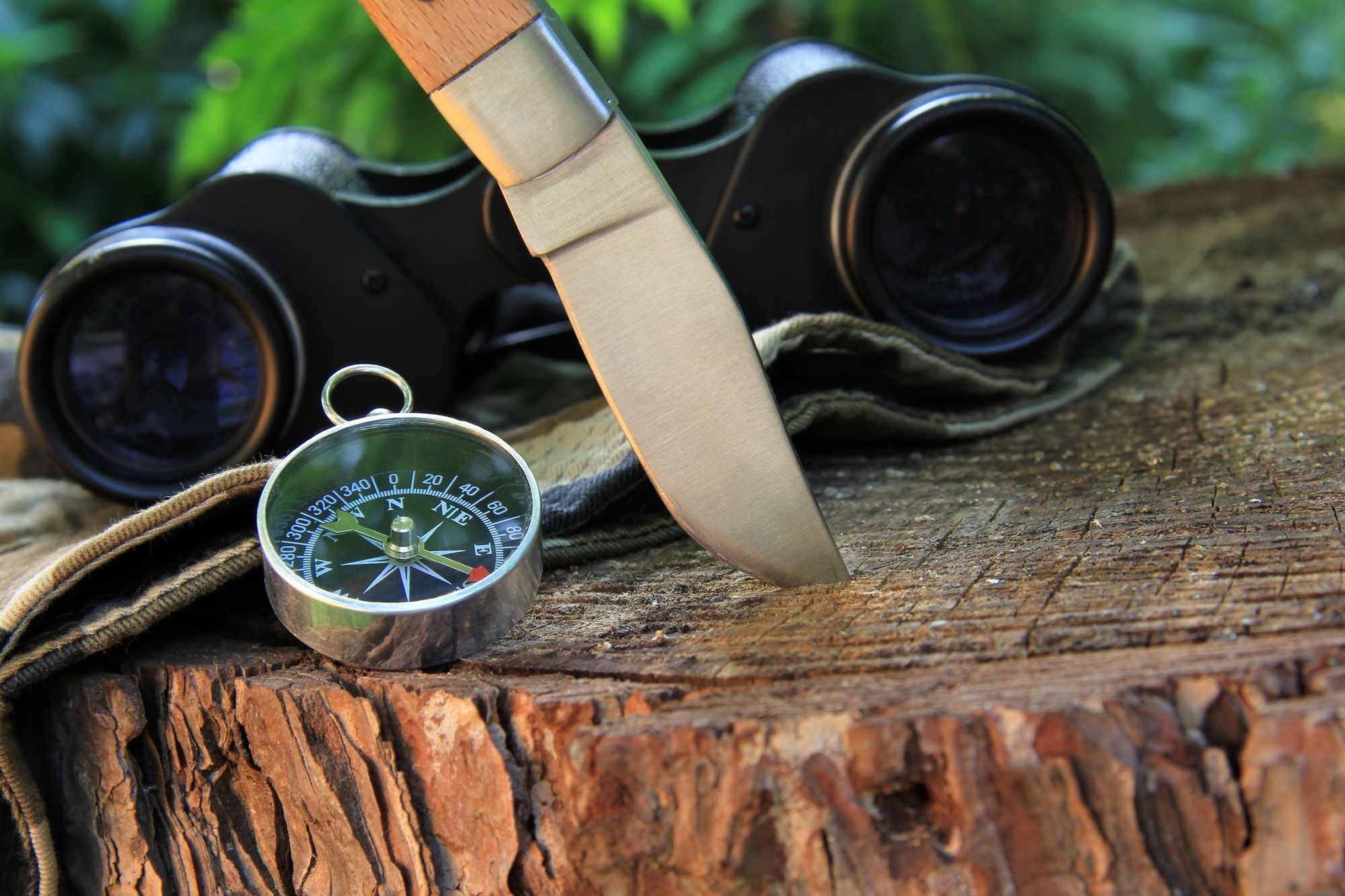Survival BOB gear - compass knife and binoculars